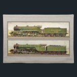 "Vintage British Steam trains Placemat<br><div class=""desc"">Two Vintage British Steam trains presented in a olde world gifts printed frame . Great gift for any lover of the age of steam or trains from around the world</div>"