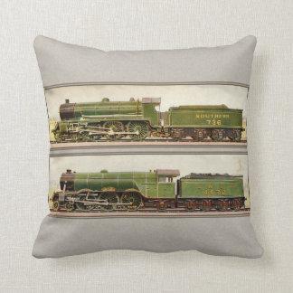 Vintage British Steam trains Throw Pillows