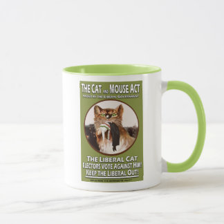 Vintage British Suffragette Cat and Mouse Act Mug