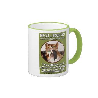 Vintage British Suffragette Cat and Mouse Act Ringer Mug