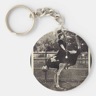 Vintage Broadway Actress Riding an Ostrich Basic Round Button Keychain