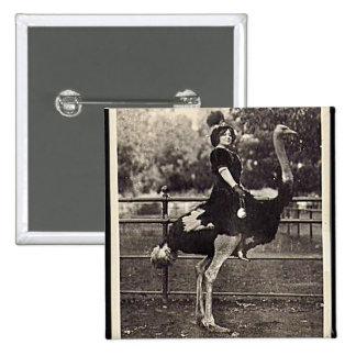 Vintage Broadway Actress Riding an Ostrich Button