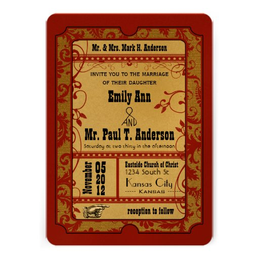 Vintage Broadway Poster Movie Ticket Wedding 5x7 Paper Invitation Card