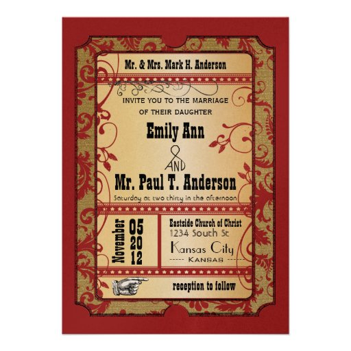Vintage Broadway Red and Gold Movie Ticket Wedding Invites