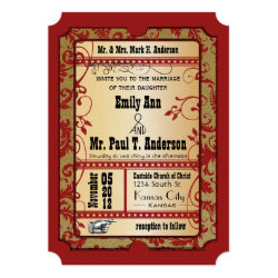 Vintage Broadway Red and Gold Movie Ticket Wedding 5x7 Paper Invitation Card