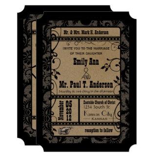 Vintage Broadway Rustic Movie Ticket Wedding Card