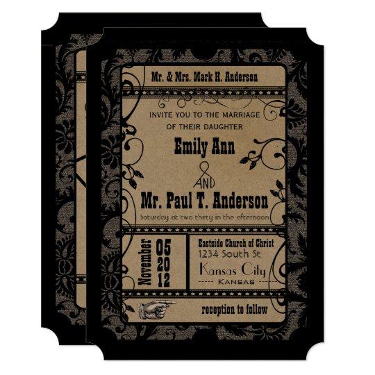 Vintage Broadway Rustic Movie Ticket Wedding Invitation Zazzle Com