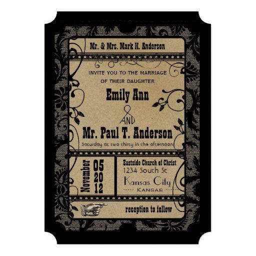 Vintage Broadway Rustic Movie Ticket Wedding 5x7 Paper Invitation Card