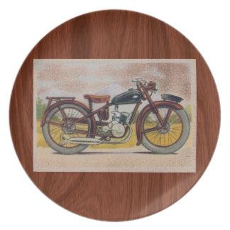 Vintage Bronze Motorcycle Print Dinner Plate