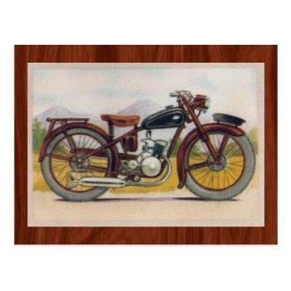 Vintage Bronze Motorcycle Print Postcard