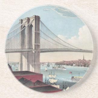 Vintage Brooklyn Bridge Art Drink Coaster