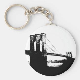 Vintage Brooklyn Bridge Basic Round Button Keychain