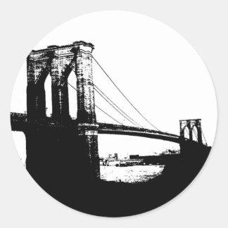 Vintage Brooklyn Bridge Classic Round Sticker