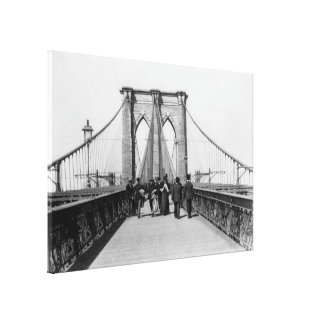 Vintage Brooklyn Bridge Crossing Photograph (1898) Canvas Print