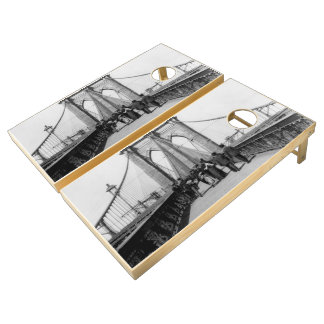 Vintage Brooklyn Bridge Crossing Photograph (1898) Cornhole Set