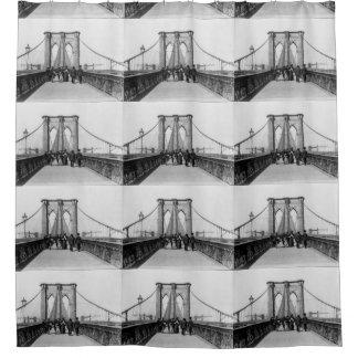 Vintage Brooklyn Bridge Crossing Photograph (1898) Shower Curtain