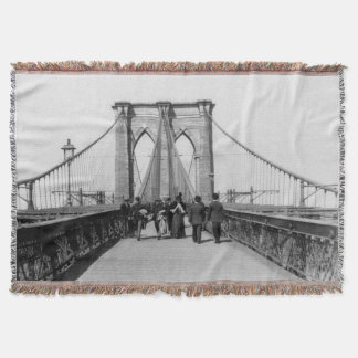 Vintage Brooklyn Bridge Crossing Photograph (1898) Throw