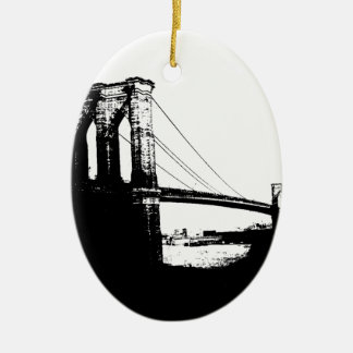 Vintage Brooklyn Bridge Double-Sided Oval Ceramic Christmas Ornament