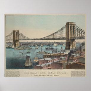 Draw bridge posters zazzle vintage brooklyn bridge illustration 1872 poster malvernweather Gallery
