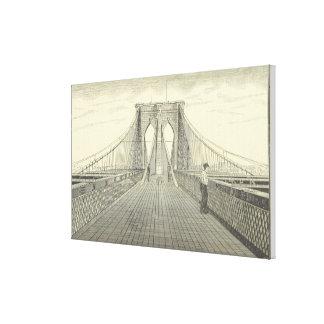 Vintage Brooklyn Bridge Illustration (1883) 2 Canvas Print
