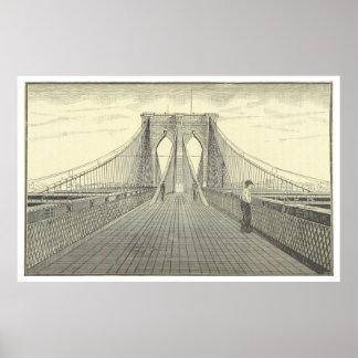 Vintage Brooklyn Bridge Illustration (1883) 2 Poster