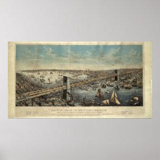 Vintage Brooklyn Bridge Illustration (1883) Poster