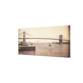 Vintage Brooklyn Bridge Photograph (1896) Canvas Print