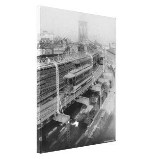 Vintage Brooklyn Bridge Railway Photograph (1910) Canvas Print
