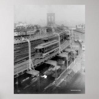 Vintage Brooklyn Bridge Railway Photograph (1910) Poster