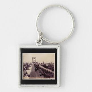 Vintage Brooklyn Bridge Silver-Colored Square Keychain