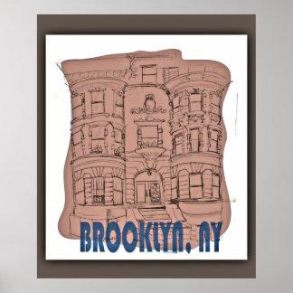 Vintage Brooklyn Brownstone Poster