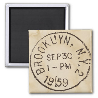 vintage brooklyn nyc new york city trendy postage 2 inch square magnet