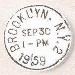 vintage brooklyn nyc new york city trendy postage beverage coaster