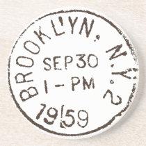 vintage brooklyn nyc new york city trendy postage coaster