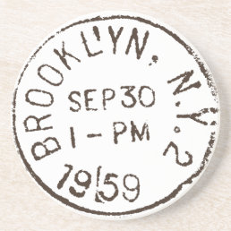 vintage brooklyn nyc new york city trendy postage coaster