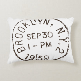 vintage brooklyn nyc new york city trendy postage decorative pillow
