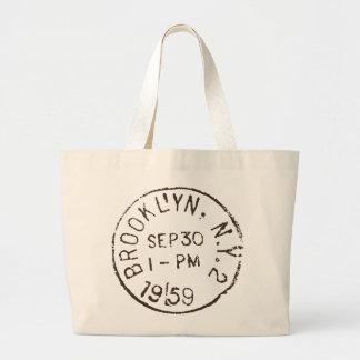 vintage brooklyn nyc new york city trendy postage large tote bag