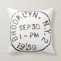 vintage brooklyn nyc new york city trendy postage throw pillow