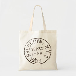 vintage brooklyn nyc new york city trendy postage tote bag