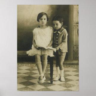 Vintage Brother y hermana Póster