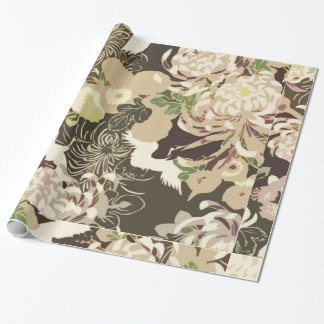 Vintage brown and beige flowers and birds wrapping paper