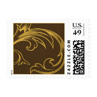 Vintage Brown and Gold Stamp Postage Stamps