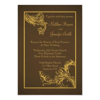 "Vintage Brown and Gold Wedding Invitation 5"" X 7"" Invitation Card"