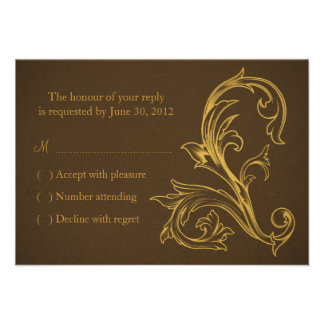 Vintage Brown and Gold Wedding RSVP Card Custom Announcement
