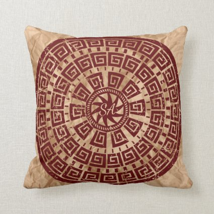 Vintage Brown and Maroon Monogrammed Throw Pillow