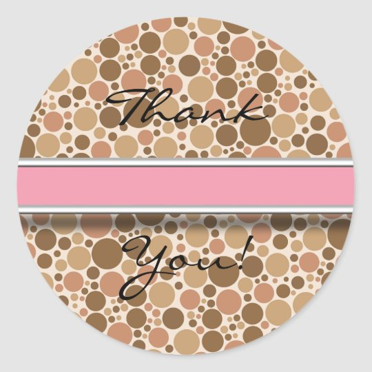 Vintage Brown and Pink Invite Matching Thank You Classic Round Sticker
