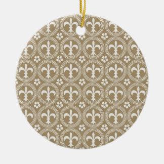 Vintage Brown And White Fleur Delis Ceramic Ornament