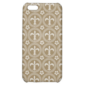 Vintage Brown And White Fleur Delis Case For iPhone 5C
