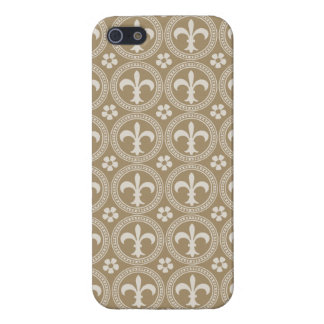 Vintage Brown And White Fleur Delis Covers For iPhone 5