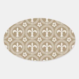 Vintage Brown And White Fleur Delis Oval Sticker